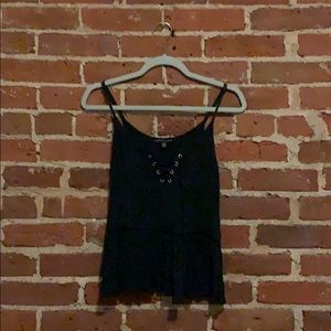 American Eagle dark gray lace up tank top